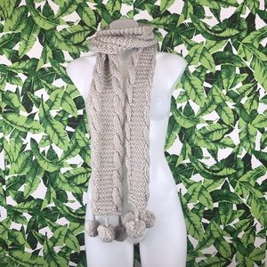 The North Face Gray CableKnit Pom Pom Scarf